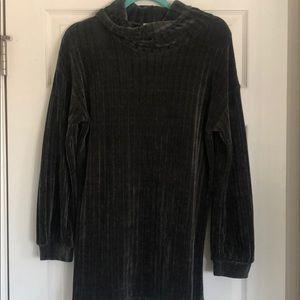 Chenille turtleneck dress -charcoal grey